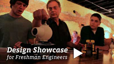 October 20, 2011, Freshman engineering majors display projects at Pour Jon's coffee shop.