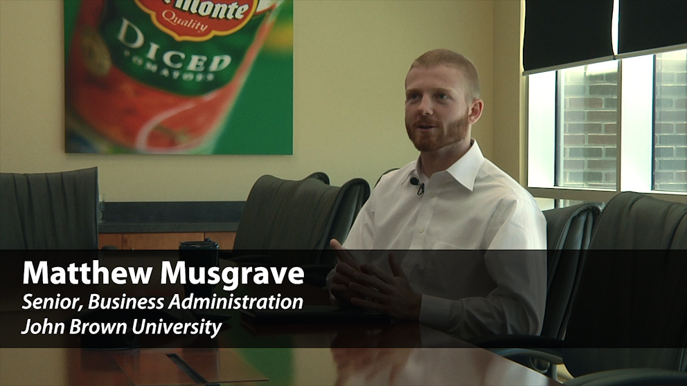 Watch Matt Musgrave talk about his internship with Del Monte foods